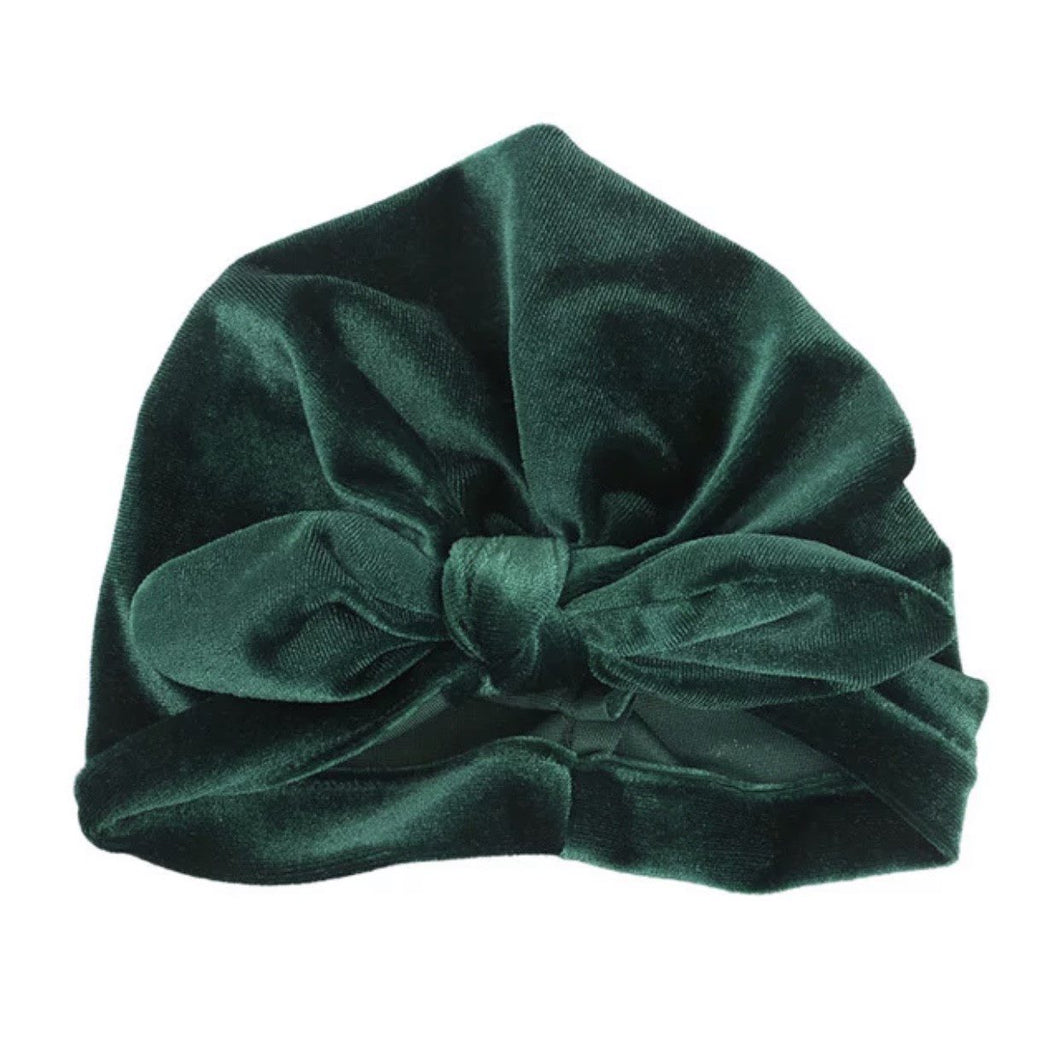 My Mini Bubba - Green Velour Turban Hat