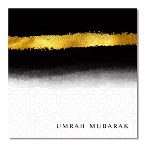 Umrah Mubarak Card - Black & Gold - Salam Occasions - Islamic Moments