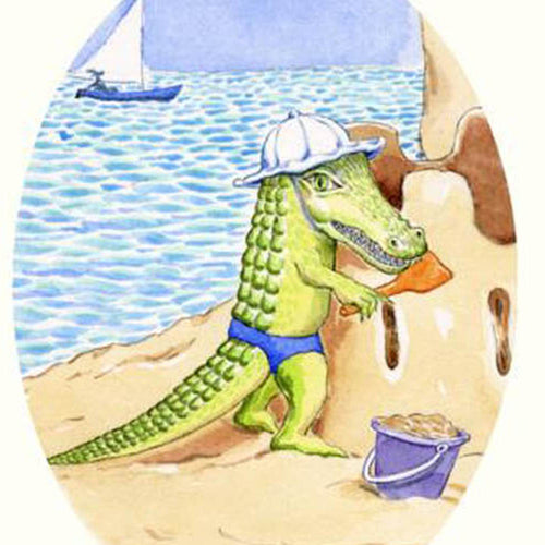 Children's room decor - Print 'Little Gator on the Beach'
