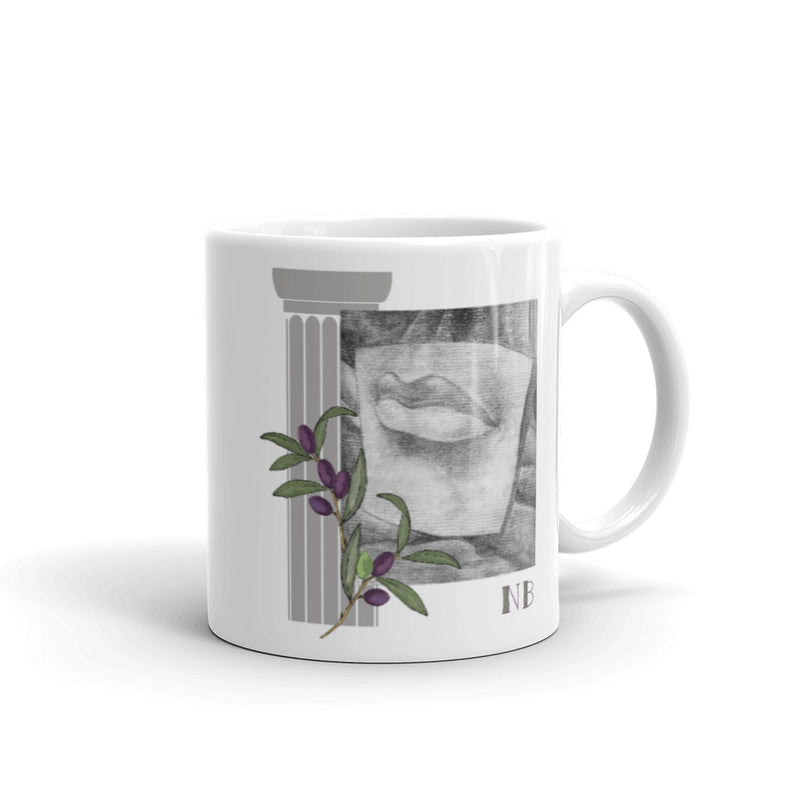Ceramic Mug with Charcoal drawing of Mouth and Eye