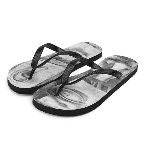 Flip-Flops with Charcoal Drawings