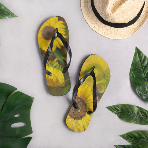 "Flip-Flops - Floral theme - ""Sunflowers"""