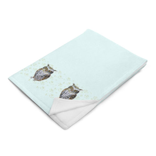 "Throw Blanket ""Owl border on blue"""