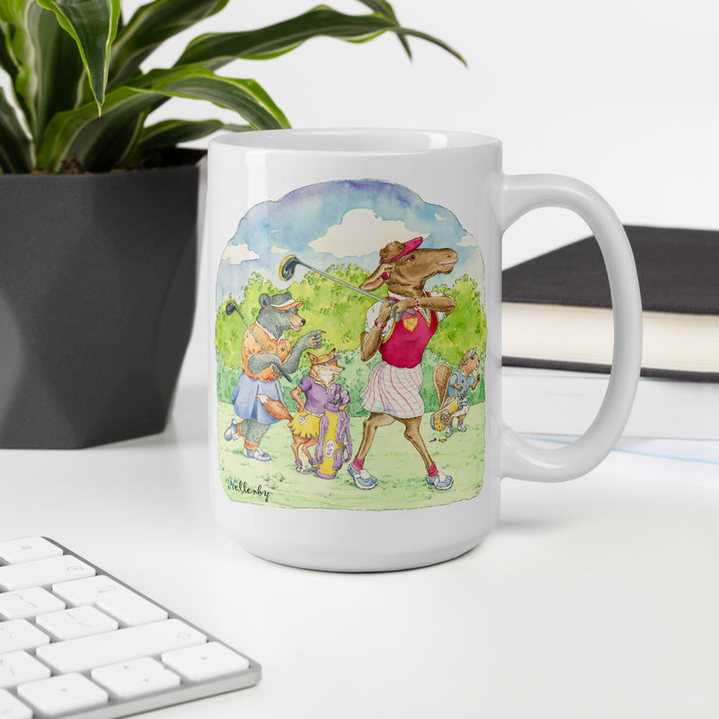 Charming  and fun mug for golfers with animal characters