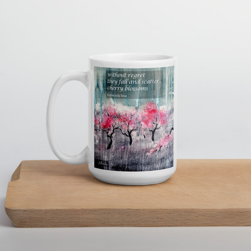"Ceramic glossy Mug - ""Cherry Trees with Haiku"""
