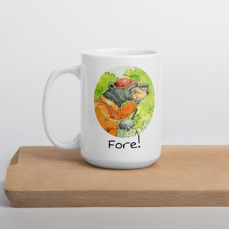 Ceramic glossy Mug - Guys on the golf course 'Fore!'