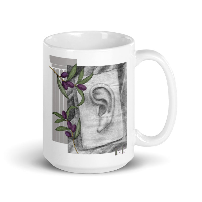 Ceramic Mug with Charcoal drawing of Eye and Ear