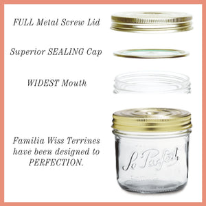 Le Parfait Familia Wiss Terrines - Mason Jars with 2-Piece Lids for Canning