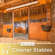 Load image into Gallery viewer, Tidy horse stable with no messes. How can you keep my horse stables cleaner? By purchasing our pellet horse feed you can have better control of the cleanliness of your stables.