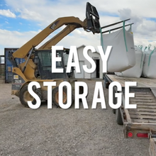 Load image into Gallery viewer, Our super sacks can be easily transported and stored. These are a great space saver since all of the feed is in a cube that doesn't take up as much space as the same about of bails of alfalfa contained in our bags.