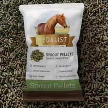 Load image into Gallery viewer, 50 lb bag of pellets: pellet bag with a horse feed scoop. Complete nutrition: Our high quality pellet blend helps bring all of the nutrition your horse needs.