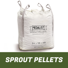 Load image into Gallery viewer, Large bulk bag of nutritious Sprout Pellet horse feed on white background. Bag size 34 x 38 x 48.