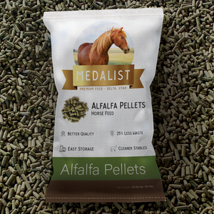 50 lbs bag of nutritious pellets, surrounded by pellets.