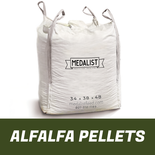 Large bulk bag of nutritious alfalfa pellet horse feed on white background. Bag dimension size 34 x 38 x 48.