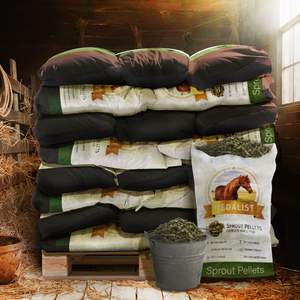 stack of  horse feed in barn. Our pellet bags can be easily transported and stored. These are a great space saver since all of the feed is in a cube that doesn't take up as much space as the same about of bails of alfalfa contained in our bags.