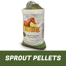 Load image into Gallery viewer, Bag of pellets: Sprout pellet bag with a horse feed scoop. Complete nutrition: Our high quality sprout blend helps bring all of the nutrition your horse needs.