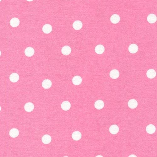 Pink flannel large white dots