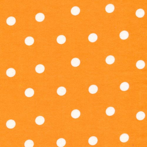 Orange flannel large white dots
