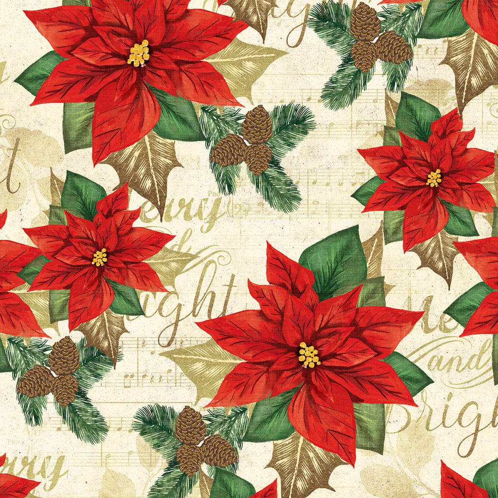Poinsetta On Music Paper