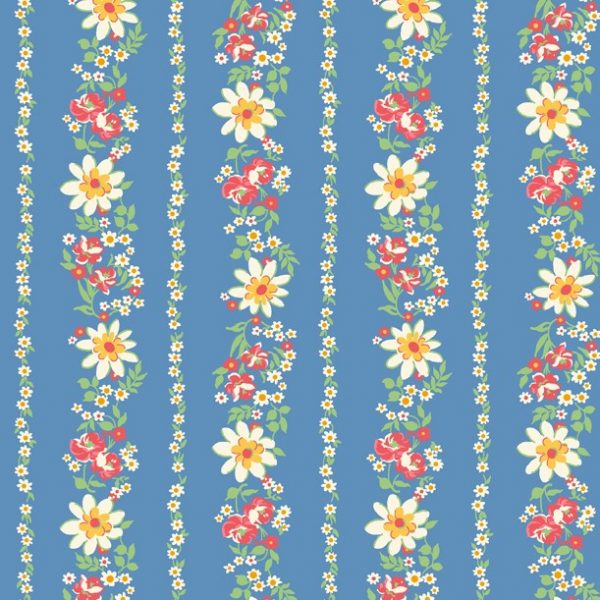 Pinafore & Petticoats - Flowers on Blue