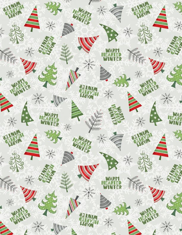 Winter Gnomes  - Christmas Trees on Light Grey