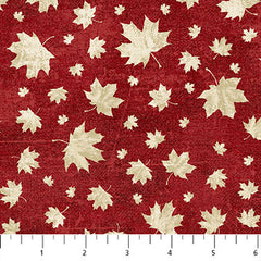 Canadian Sesquicentennial Celebration: Beige Leaves on Red