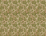 Holiday Stitches - Green Floral on Tonal Beige