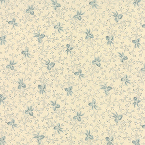 Silver Lining - Cream and Blue - Flowers