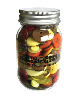 Harvest Buttons in a plastic mason jar