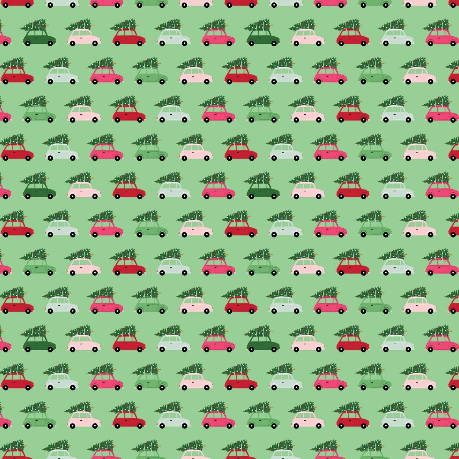 Merry and Bright Cars Light Green