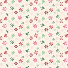 Merry and Bright Scattered Snowflakes Cream