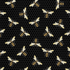 Bees on Black Honeycomb