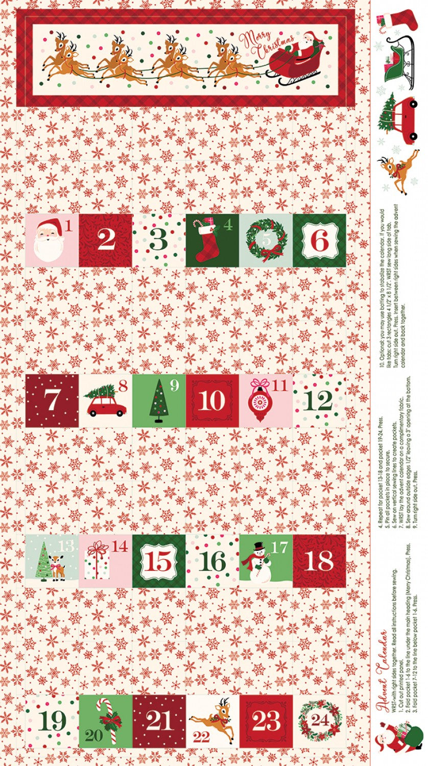 Merry and Bright Christmas Advent Panel Cream