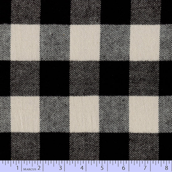 2 Sided Woven Flannel - Buffalo Plaid White and Black