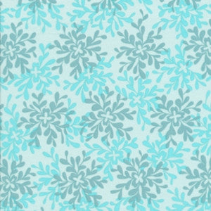 Nest: Leaves in Turquoise COTTON VOILE