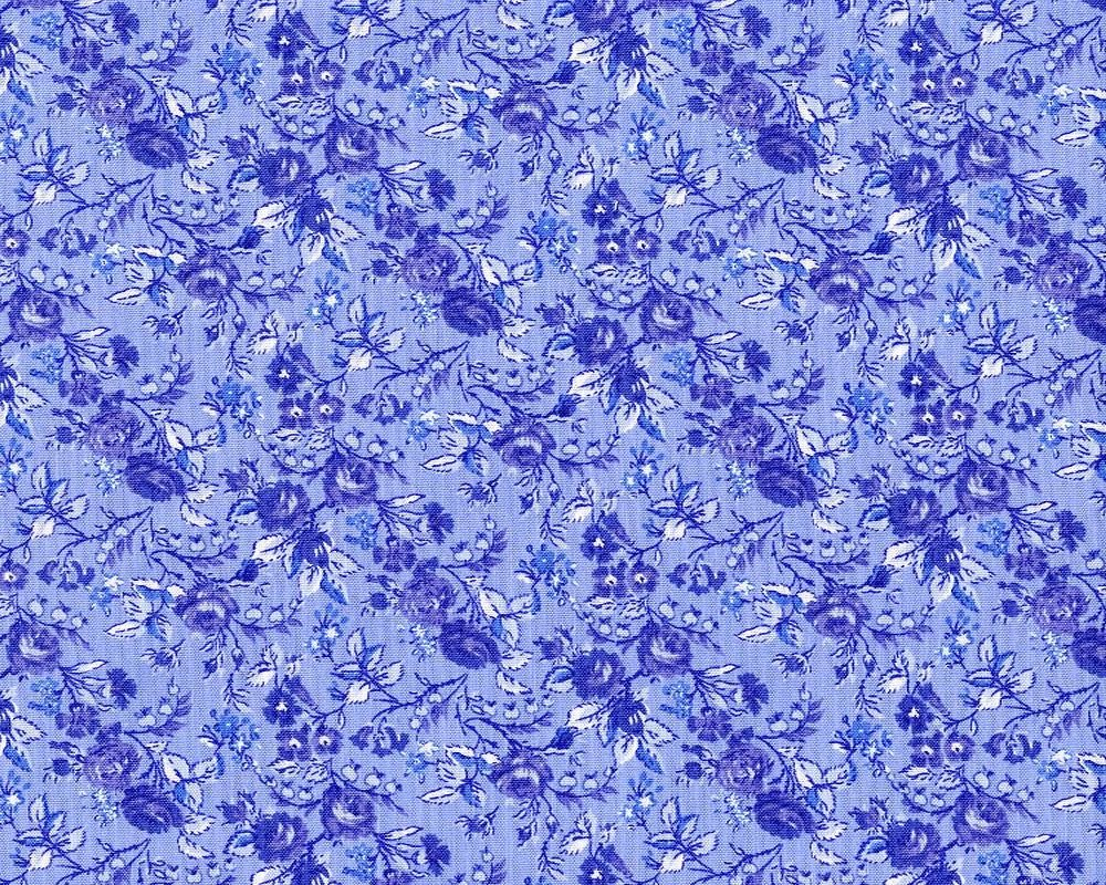 Music Collection; Devon Rose in Periwinkle - Fat Quarter
