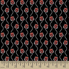 Fat Quarter - Poppies in Bloom: Wavy Stems Red
