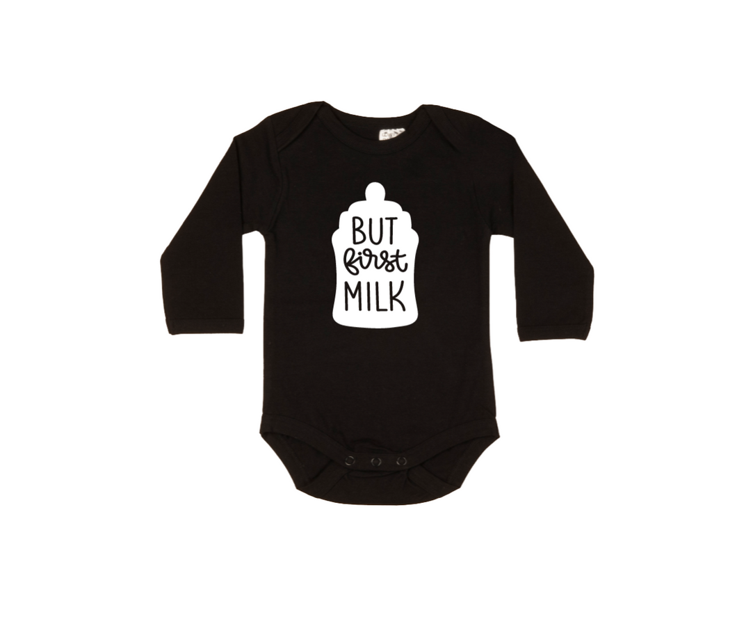 BUT FIRST MILK Baby Long Sleeve bodysuit