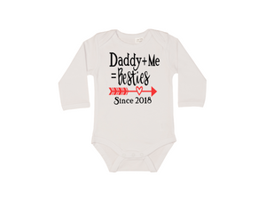 DADDY+ME=BESTIES Baby Long Sleeve Bodysuit