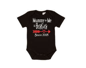 MUMMY+ME=BESTIES Baby Short Sleeve Bodysuit