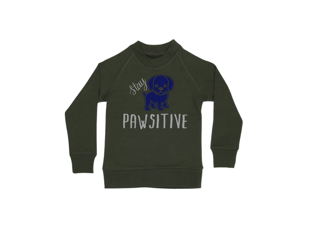 STAY PAWSITIVE Kids Crew Neck Jumper