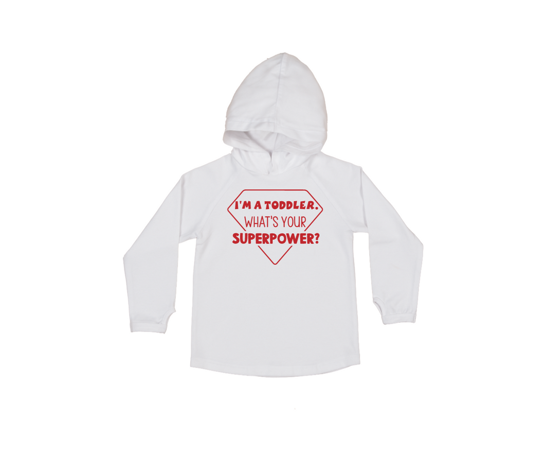 I'M A TODDLER. WHAT'S YOUR SUPERPOWER? Kids Long Sleeve Basic Hoody