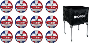 12 molten L2 volleyballs and a molten square ball cart
