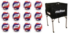 12 molten usav volleyballs with molten square ball cart