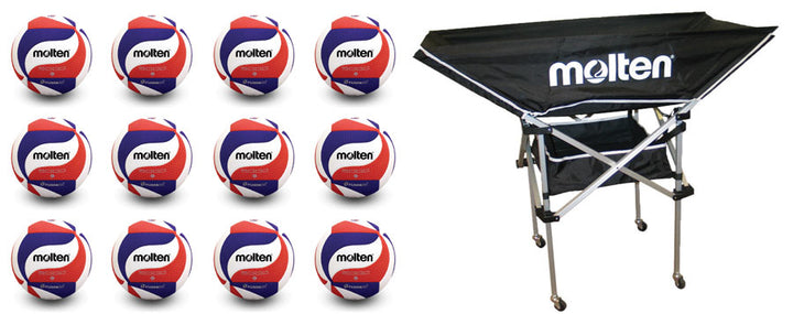 12 molten usav volleyballs with molten hammock cart