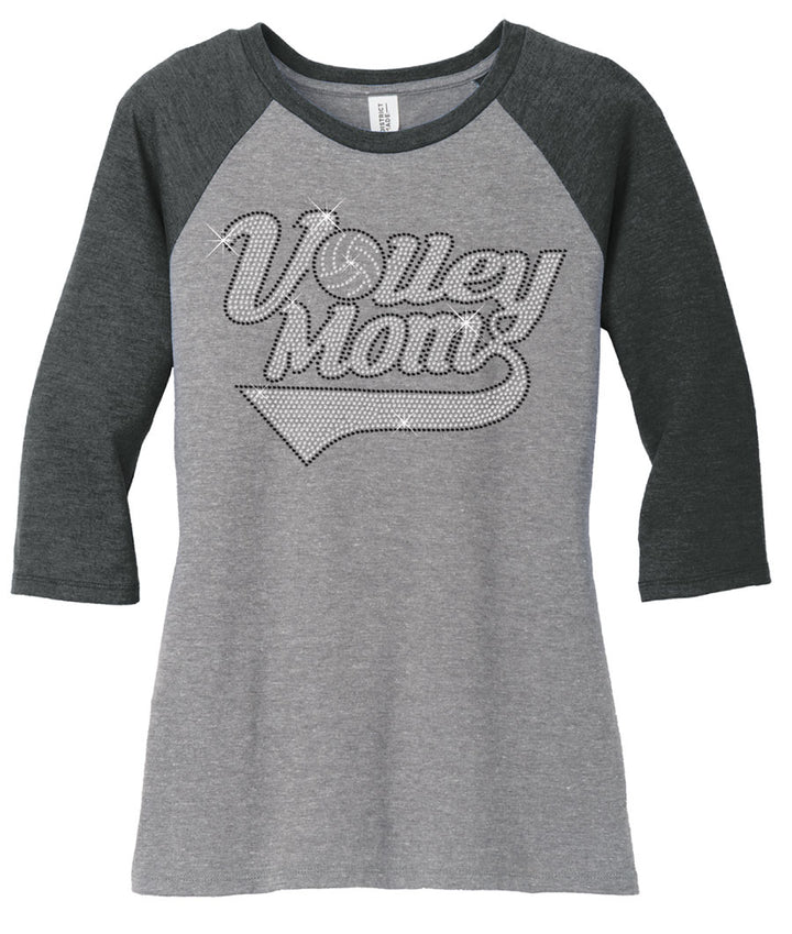 volleyball mom rhinestone shirt 3/4 sleeve