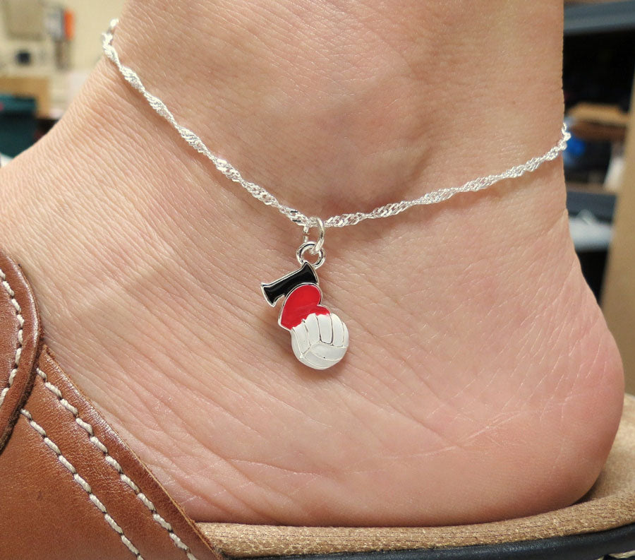 I heart volleyball charm on sterling silver anklet