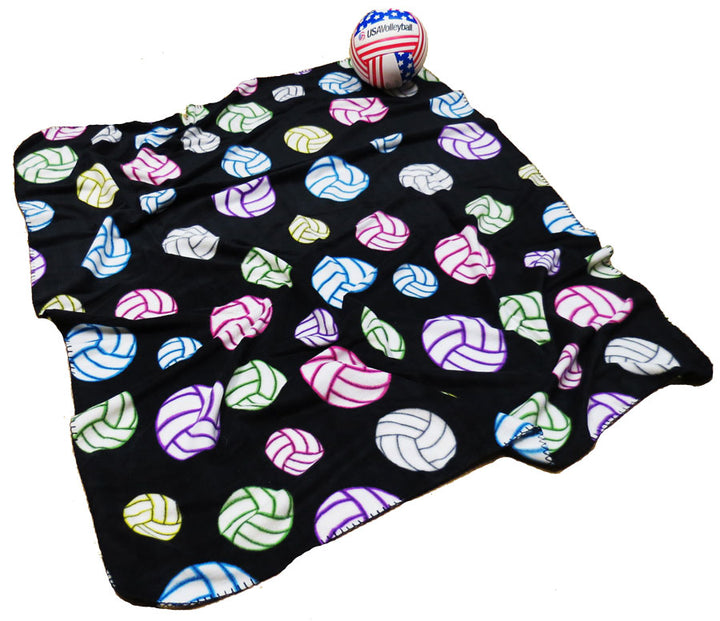 multi color volleyball fleece travel blanket