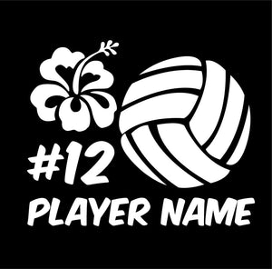 custom volleyball floral design vinyl car decal or sticker