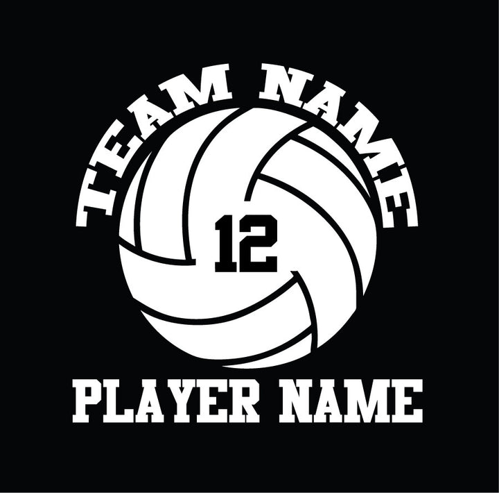 customize with team name and player name and number volleyball car decal